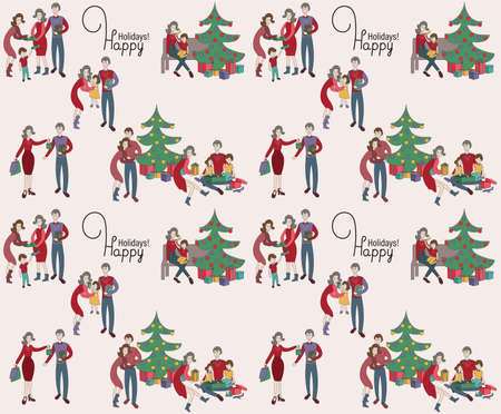 Christmas family pattern, Family exchange gifts under Christmas tree, People unpacking gifts, Getting together on holidays 矢量图像