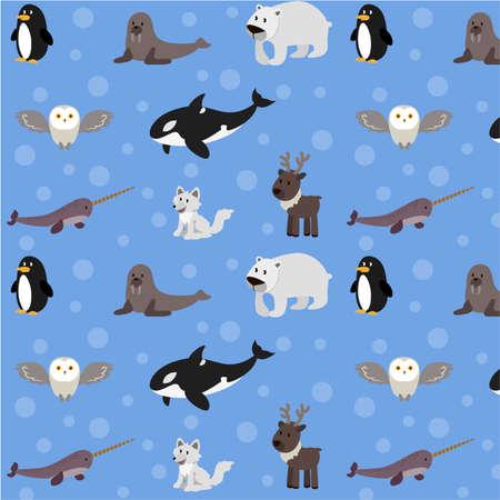 Polar animals vector pattern, Winter animals blue background, Arctic wildlife illustration