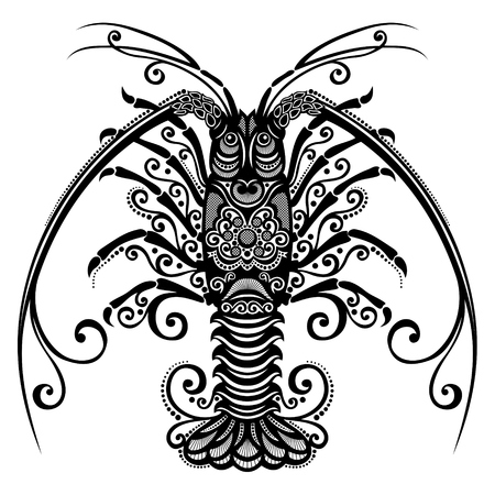 Spiny Lobster Patterned design Vector