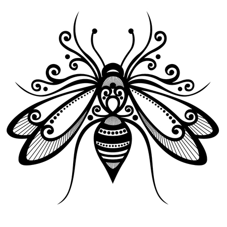 animal  beautiful: Vector Beautiful Bee, Exotic Insect  Patterned design, Tattoo
