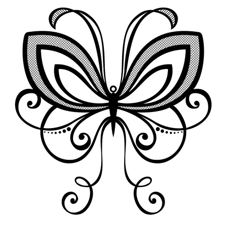 Vector Beautiful Butterfly, Exotic Insect  Patterned design, Tattoo Vector