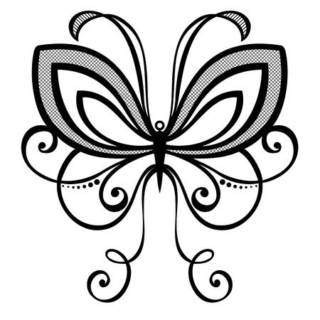�white: Vector hermoso de la mariposa, dise�o ex�tico insecto con dibujos, tatuaje