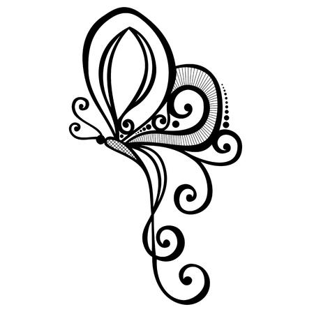 Vector Bella farfalla, disegno di fantasia di insetti esotici, tatuaggio Archivio Fotografico - 26234987