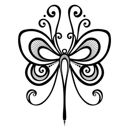 Vector Beautiful Dragonfly, Exotic Insect  Patterned design, Tattoo Vector