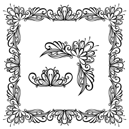 Decorative Floral Frame, Ornament  Vector   Decorative Corner Vector