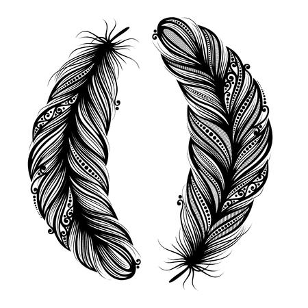 Peerless Decorative Feather  Vector , Patterned design, Tattoo Illustration