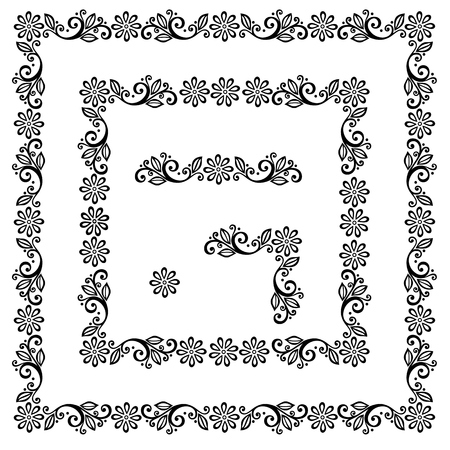 Decorative Floral Frame, Ornament  Vector   Decorative Corner Illustration