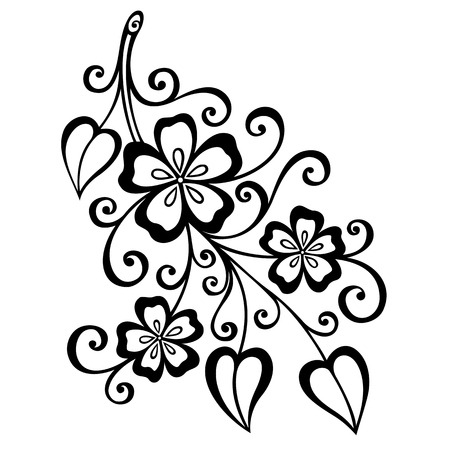 Beautiful Decorative Branch with Flowers  Vector , Patterned design Vector