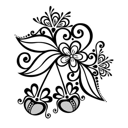 ramo di ciliegio: Vector Decorative Cherry Branch Vettoriali