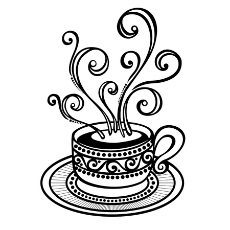 Vector Decorative Cup of Coffee with Steam Vector