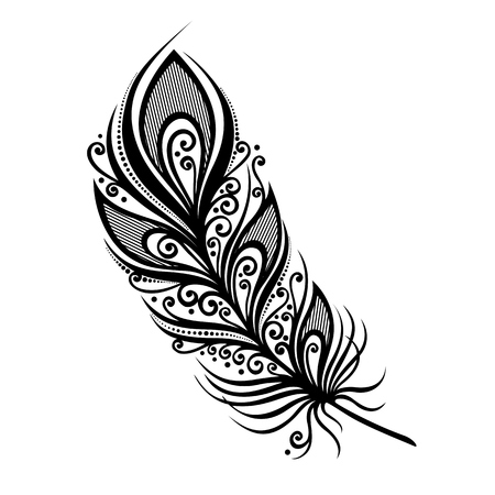 Peerless Decorative Feather  Vector , Patterned design, Tattoo Vettoriali