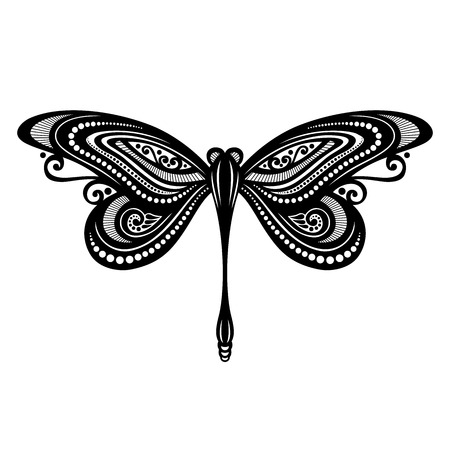 dragonfly wings: Vector Beautiful Dragonfly, Exotic Insect  Patterned design, Tattoo Illustration