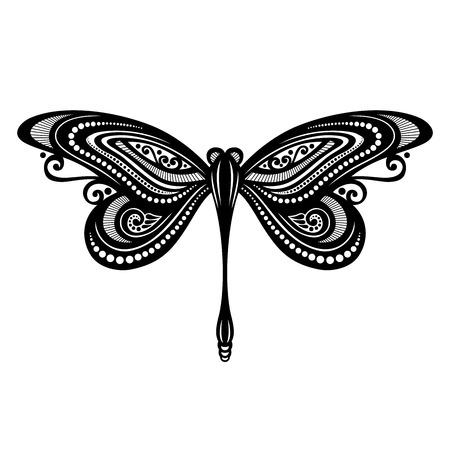 Vector Mooie Dragonfly, Exotische Insect gevormd ontwerp, Tattoo