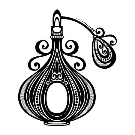 vintage lady: Vector decoratieve sierlijke Parfum