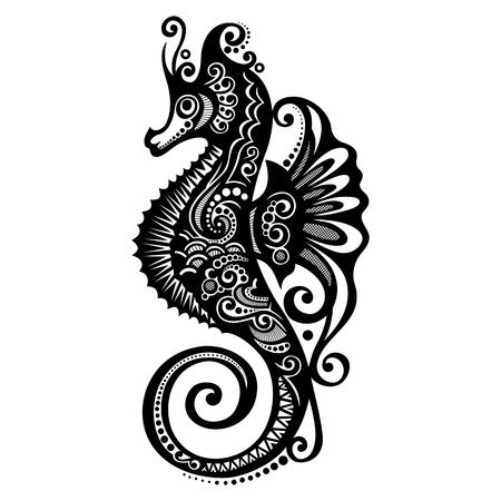 caballo de mar: Dise�o del vector del caballo de mar con dibujos