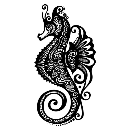 Vector Sea Horse  Patterned design Vector