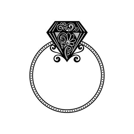Vecteur de mariage bague avec diamant Veux-tu m'épouser anneau