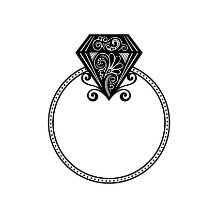 Vector Wedding Ring con Diamante Will you marry me anello Archivio Fotografico - 26617711