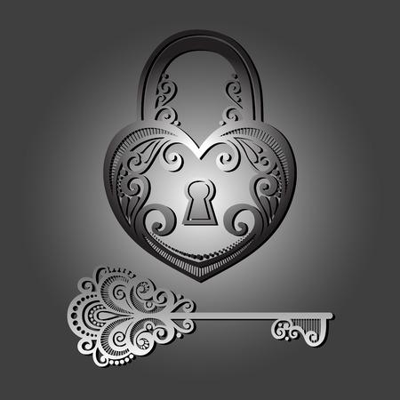 secret love: Vector Bloqueo de la vendimia con una clave