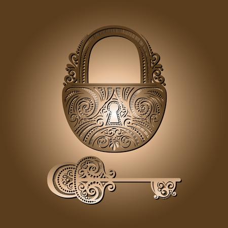 Vector Vintage Lock with a Key Vector