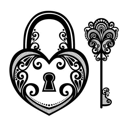 Vector Jahrgang Schloss mit einem Schlüssel Illustration