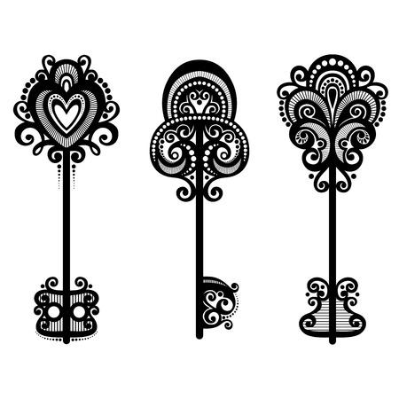 Vector Set of Vintage Keys Vector