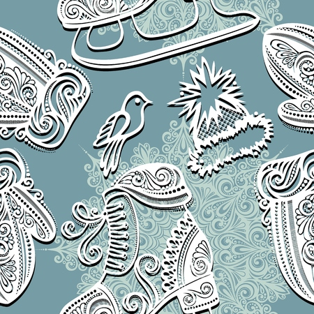 Seamless Ornate Winter Pattern  Vector , Christmas Decorations Vector