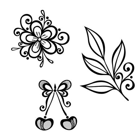 ramo di ciliegio: Vector Decorative Cherry Branch, Set