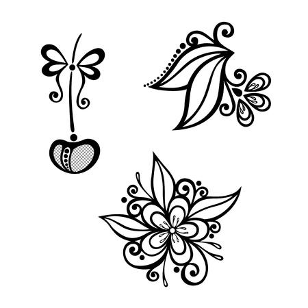 ramo di ciliegio: Vettore decorativo Cherry Branch, Set