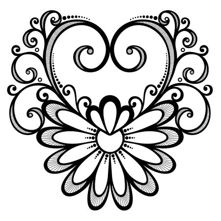 Vector Deco Floral Heart  Design element Vector