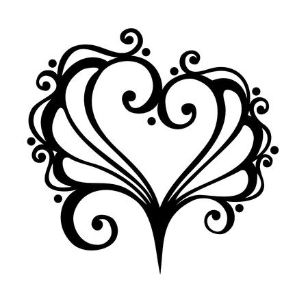 Vector Deco Floral Heart  Design element Vector