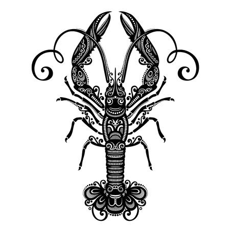 Vector Sea Langoustine  Patterned design