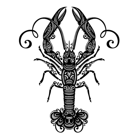 lobster isolated: Vector Sea Langoustine  Patterned design