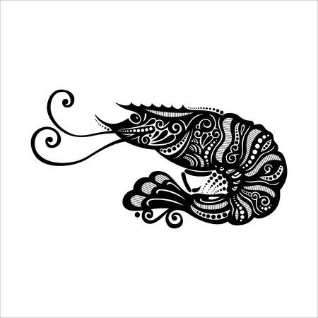Vector Sea Shrimp  Patterned design