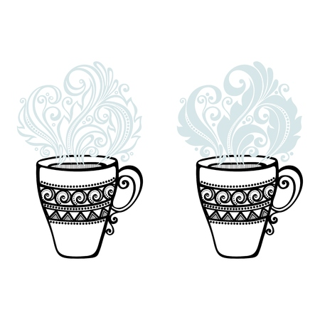 Vector Set of Decorative Cups of Tea with Steam Vector