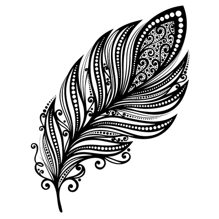 white feather: Peerless Decorative Feather  Vector , Patterned design, Tattoo Illustration