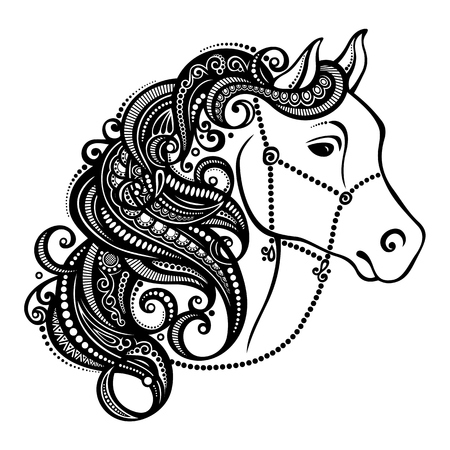 Vector Decorative Horse with Patterned Mane  Patterned design Vector
