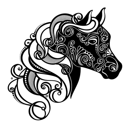 horsehair: Vector Decorative Horse with Patterned Mane  Patterned design