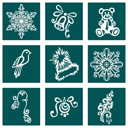 Set of Deco Ornamental Winter Objects  Vector , Patterned design Vector