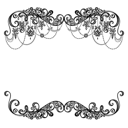 retro lace: Beautiful Holiday Frame with Christmas Decorations  Vector   Patterned design
