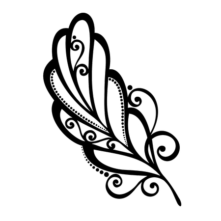 plume: Peerless Decorative Feather  Vector , Patterned design, Tattoo Illustration