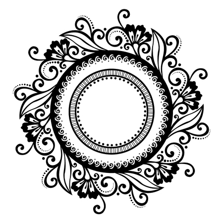 Beautiful Deco Floral Circle  Vector , Patterned frame Vector