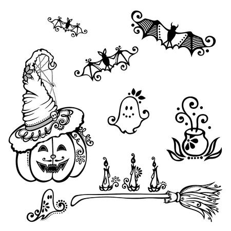 jack pot: Halloween decorations  Vector , Patterned design Illustration