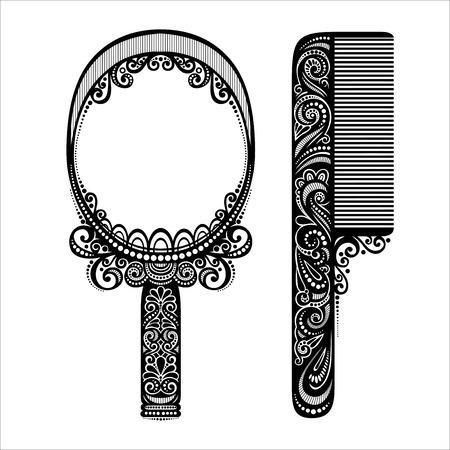 Vector Ornato Pettine con specchio