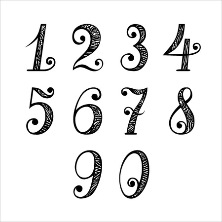 number eight: Vector Set of Vintage Numbers Illustration