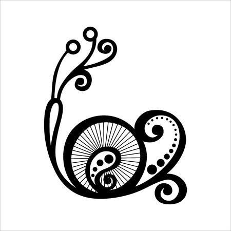 벡터 아름다운 달팽이, 이국적인 곤충 무늬 디자인, 문신