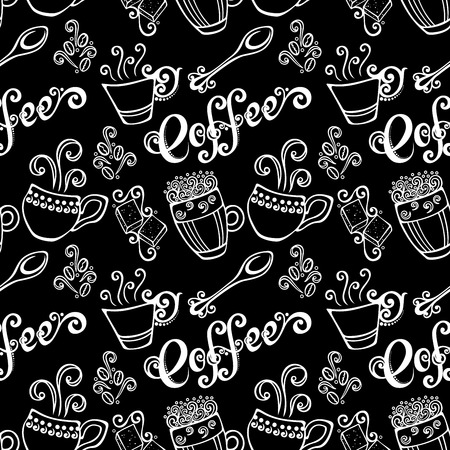 Seamless Pattern with Decorative Cups of Coffee  Vector  Vector