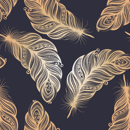 Seamless Pattern with Feathers  Vector  Vector