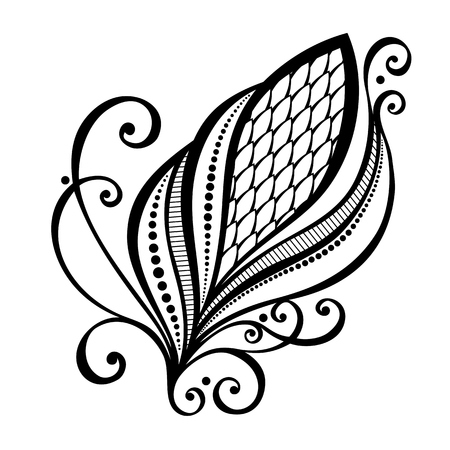 Beautiful Decorative Flower with Leaves  Vector , Patterned design Vector