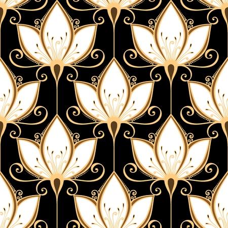 완벽 한 꽃 패턴 벡터 손으로 꽃과 질감을 그린